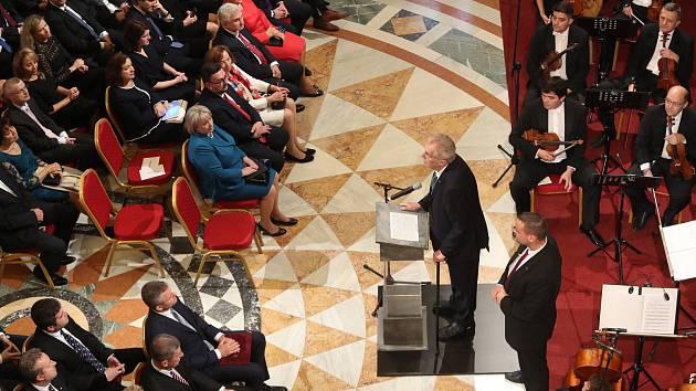 Prezident Miloš Zeman během projevu během slavnostního otevření opraveného Národního muzea v Praze.