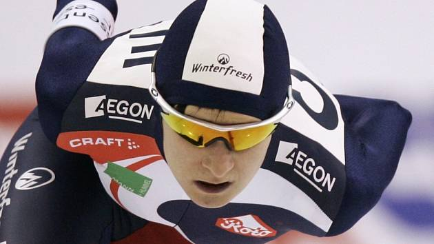 Česká rychlobruslařka Martina Sáblíková při závodech Světového poháru v Salt Lake City.