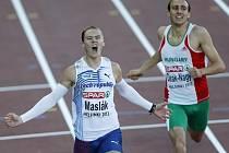 Pavel Maslák se raduje z titulu mistra Evropy v běhu na 400 metrů.