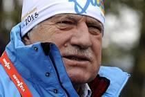 Prezident Václav Klaus navštívil v sobotu 16. února 2013 dějiště mistrovství světa v biatlonu v Novém Městě na Moravě.