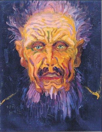 Wenzel Hablik: Hlava muže, 1911, olej, plátno, Galerie výtvarného umění vOstravě