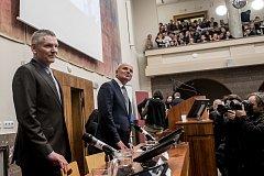 Debata s prezidentskými kandidáty proběhla 8. listopadu v Praze na Právnické fakultě. Jiří Hynek, Michal Horáček