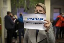 Protest proti zadržení běloruského novináře a opozičního aktivisty Ramana Prataseviče