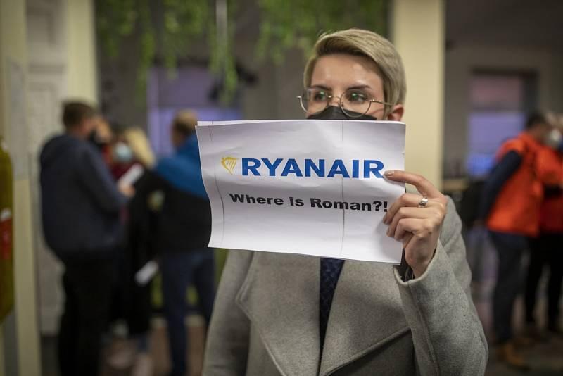 Protest proti zadržení běloruského novináře a opozičního aktivisty Ramana Prataseviče.