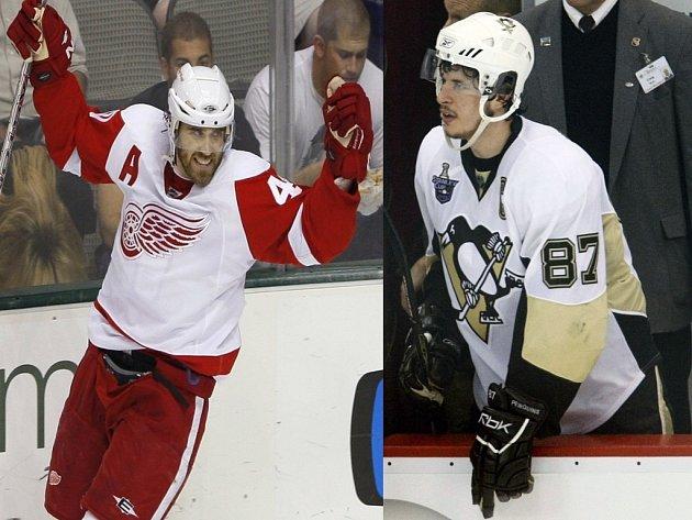 Dvě velké postavy finálové série mezi Detroitem a Pittsburghem. Zetterberg (vlevo) a Crosby.