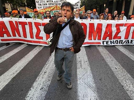 Demonstranti v ulicích Atén. Ilustrační foto