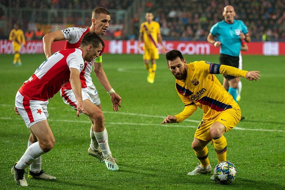 Fotbalový zápas skupiny F (liga mistrů), SK Slavia Praha - FC Barcelona, 23. října 2019 v Praze.