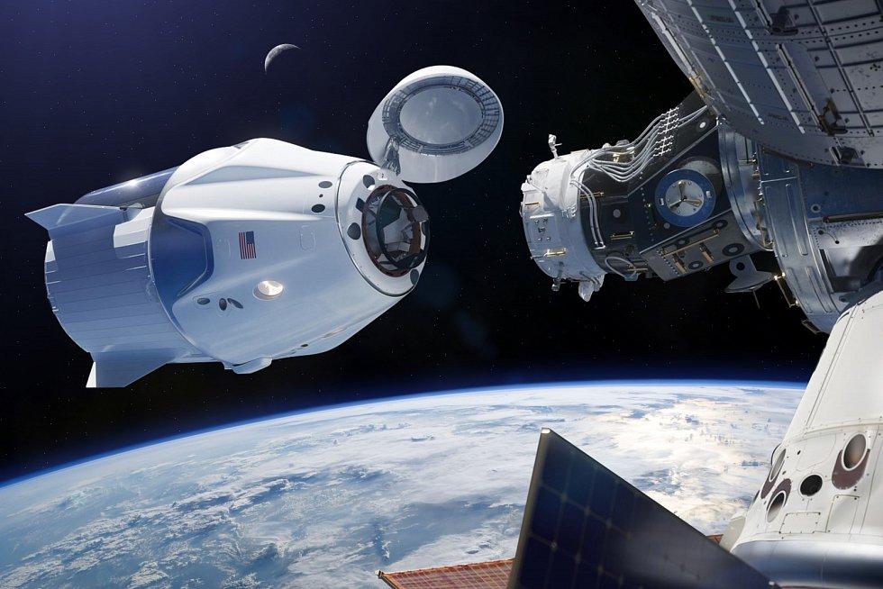 Nákladní kosmická loď na oběžné dráze Země.