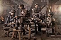 Athos (TOM BURKE), D'Artagnan (LUKE PASQUALINO), Porthos (HOWARD CHARLES) and Aramis (SANTIAGO CABRERA)