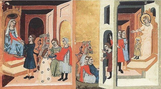 Drahomíra dává Tunnovi a Gomonovi koně a stříbro, aby zabili Ludmilu. Tunna a Gomon před svatou Ludmilou a svatým Václavem. Ludmila se zpovídá a připravuje na smrt. Tunna a Gomon vyrážejí dveře komnaty