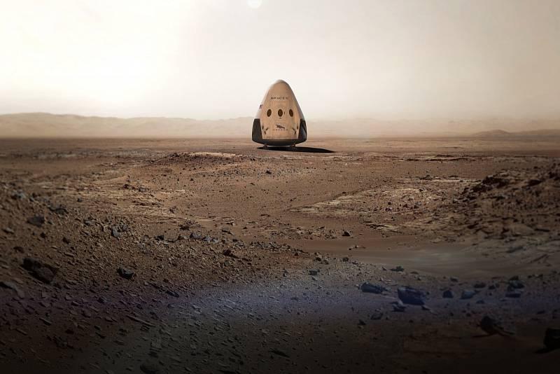 Umělecká představa kosmické lodě Crew Dragon na Marsu.