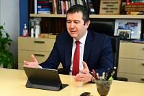 Předsedsa České strany sociálně demokratické (ČSSD) Jan Hamáček na on-line sjezdu strany, který začal 9. dubna 2021