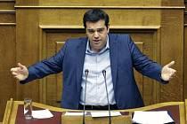 Alexis Tsipras v řeckém parlamentu.