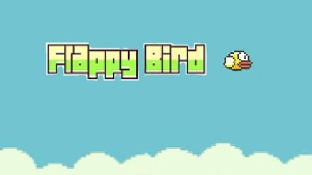 Mobilní hra Flappy Bird.