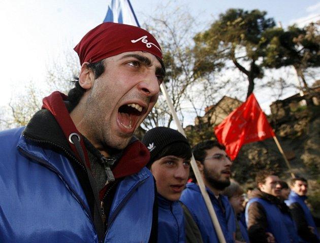 Demonstranti prošli v pondělí gruzínským hlavním městem.