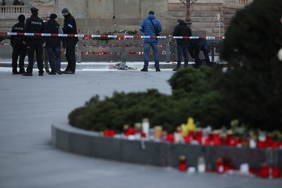 Muž se zapálil na Václavském náměstí.