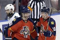 Jaromír Jágr z Floridy (uprostřed) vstřelil proti San Jose svůj 740. gól v NHL.
