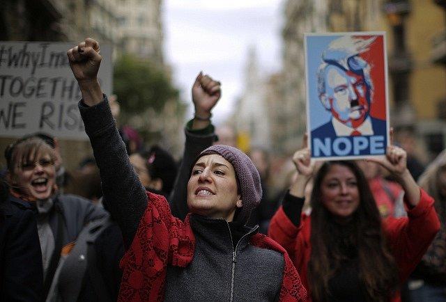 Manifestace za práva žen v Barceloně.