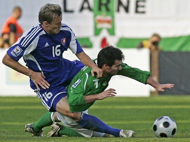Slovenský obránce Ďurica fauluje Gillespieho ze Severního Irska.