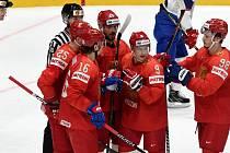 Brno 10.5.2019 - zahajovací utkání skupiny B MS 2019 v Bratislavě mezi Ruskem (červená) a Norskem (bílá)