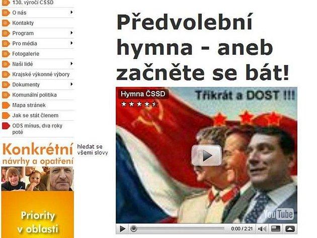 Internetová stránka ČSSD v pátek večer.