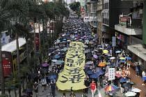 Demonstrace v Hongkongu na snímku z 5. října 2019