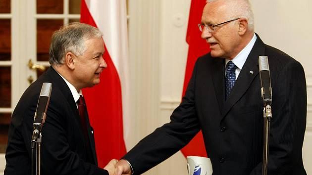 Prezident Václav Klaus se setkal se svým protějškem Lechem Kaczynskim