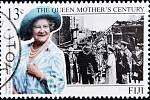 Královna matka na známce z roku 1999.