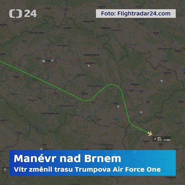 Skutečný grafický záznam letu amerického prezidentského speciálu