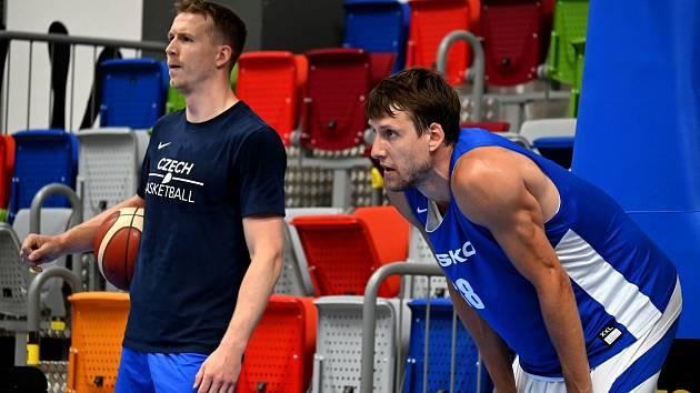 Basketbalista Jan Veselý na tréninku české reprezentace.