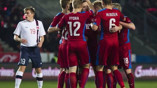 Česko - Norsko: Český tým slaví gól