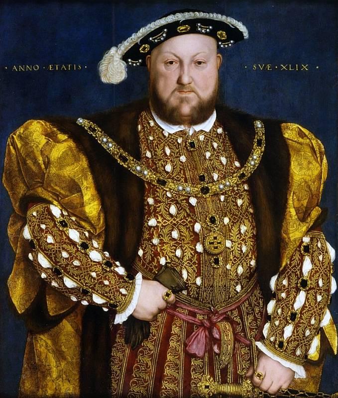 Jindřicha VIII. v pozdějším věku trápila obezita. Autorem malby je Hans Holbein mladší.