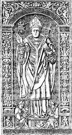 Náhrobek biskupa Absalona v klášterním kostele v dánském Solo. Absalon byl arcibiskupem v Lundu v letech 1177 až 1201