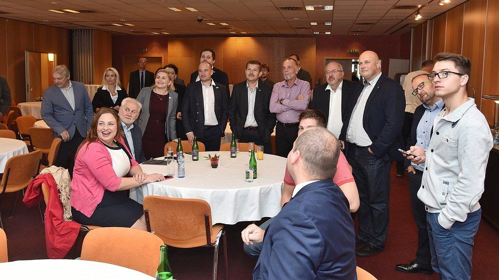 Brno 21.10.2017 - volební štáb hnutí ANO v brněnském hotelu Voroněž.