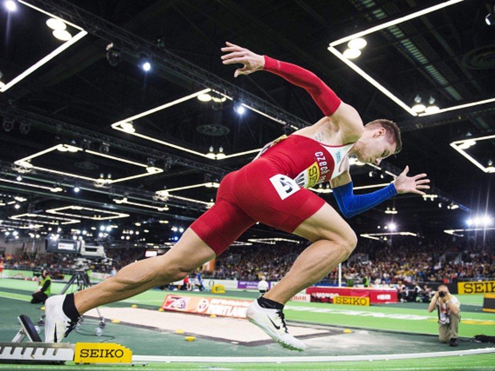 Pavel Maslák ve finále halového mistrovství světa.