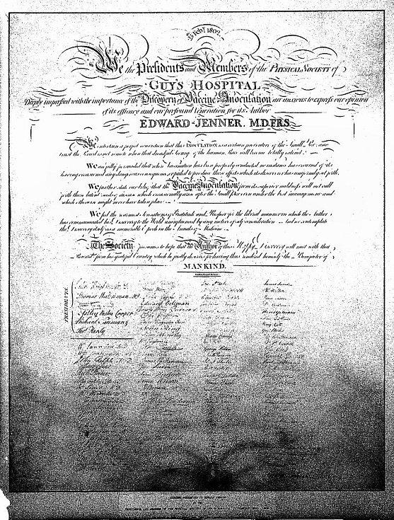 Jennerovo osvědčení o účinnosti očkování z roku 1802, podepsané 112 členy Fyzikální společnosti v Londýně