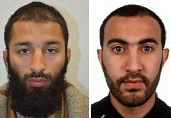 Dva ze tří teroristů, kteří zabili v Londýně sedm lidí. Khuram Shazad Butt (vlevo) a Rachid Redouane.