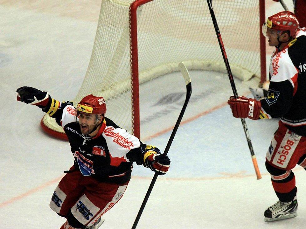David Kuchejda z Budějovic se raduje z gólu.