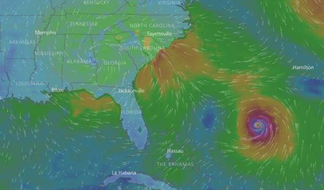 meteobraz hurikán Irma, 12.9.ráno