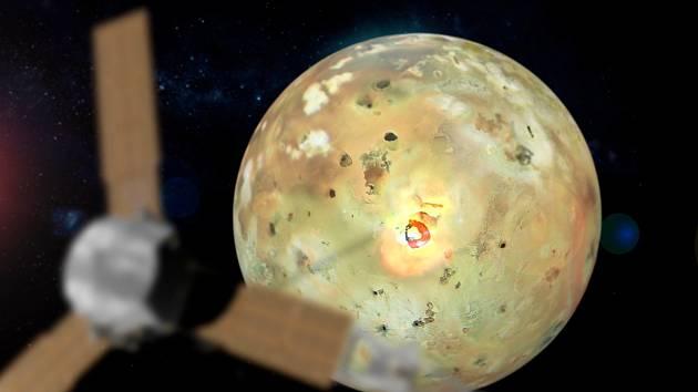 Ilustrace Jupiterova měsíce Io s vulkánem Loki