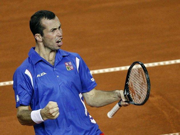 Radek Štěpánek během semifinále Davis Cupu v chorvatské Poreči.