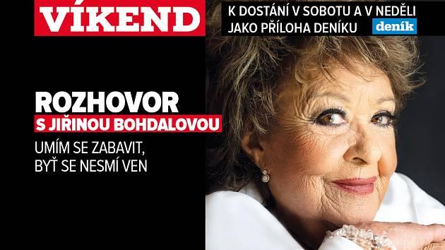 Rozhovor s Jiřinou Bohdalovou, poutání na magazín Víkend