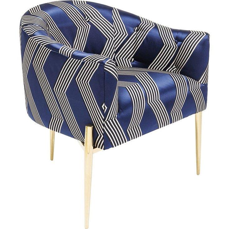 Modré křeslo se zlatými nohami Kare Design Kimono.