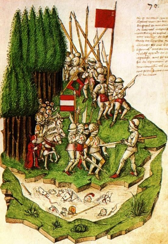 Další malba v Tschachtlanově kronice, představující názornou ukázku vzhledu pozdně středověkých zbrojí