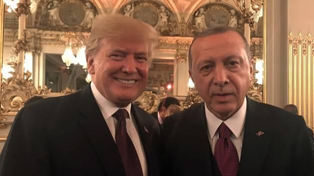 Donald Trump a Recep Tayyip Erdogan v Paříži