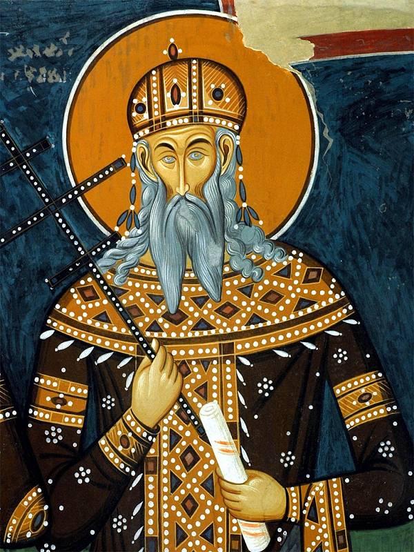 Freska zachycující srbského krále Vukašina Mrnjavčeviće. Mrnjavčević vedl srbské vojsko spolu s dalším vůdcem Jovanem Uglješou, oba však v bitvě padli