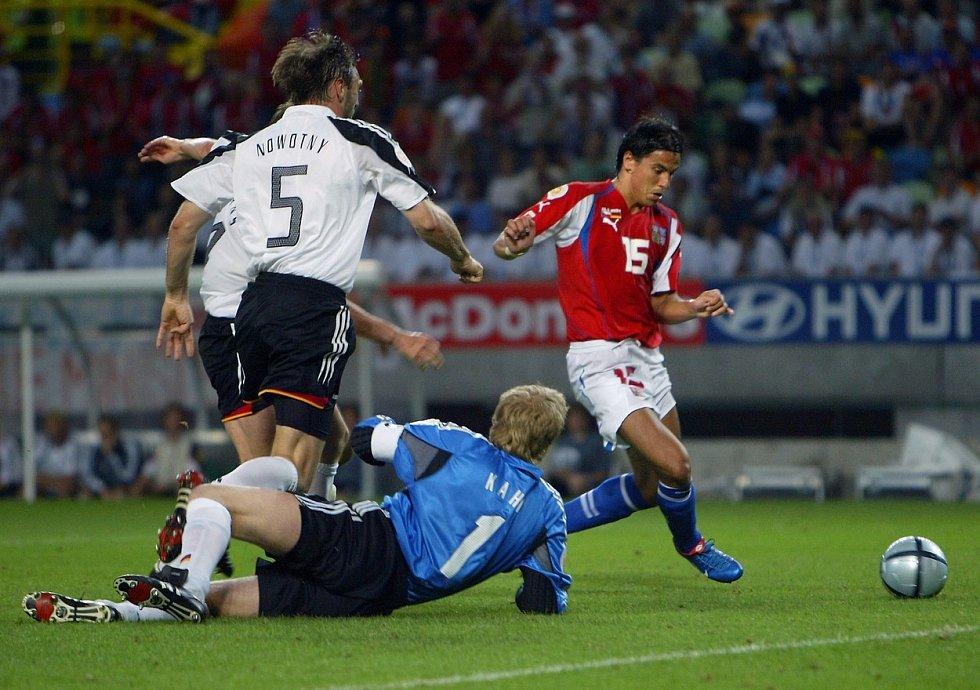 Útočník Milan Baroš skóroval i proti Německu.