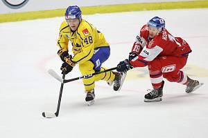 Jonatan Berggren a Petr Kodýtek v zápase Švédsko - ČR v Malmö.