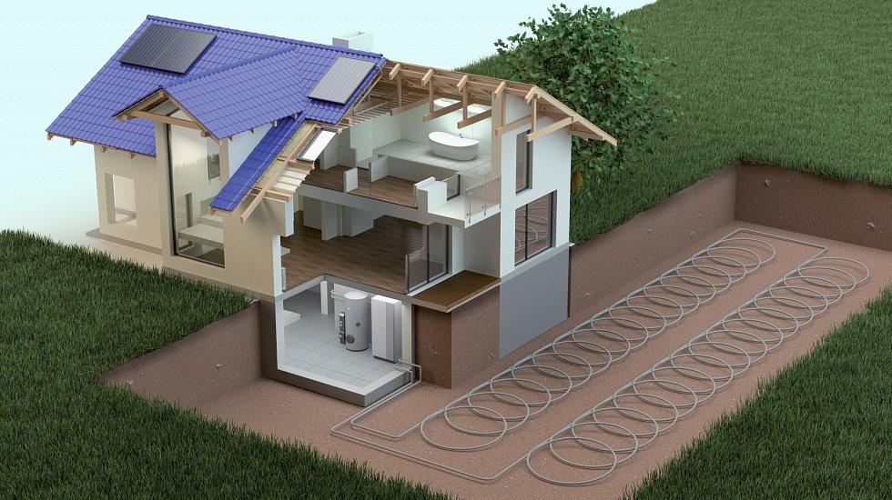 Teplo pro tepelné čerpadlo lze brát ze vzduchu, vody nebo, jako zde, ze země.