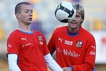 Václav Svěrkoš (vlevo) trénuje s Radoslavem Kováčem.